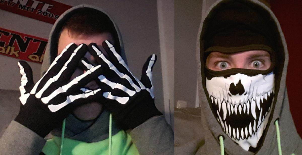 Skelet Handschoenen + Bivakmuts Skull Fangs