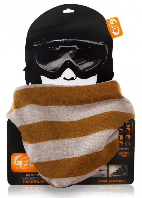 Bandana Scarf Orange/Grey Stripes