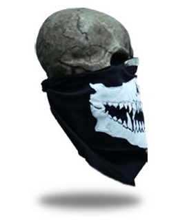 Bandana Skull with Fangs Zwart