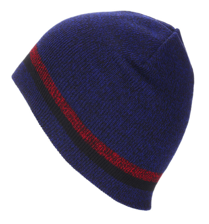 Blue beanie with stripe
