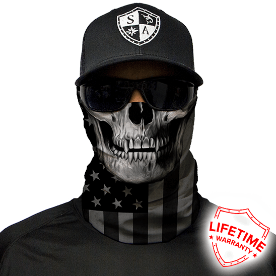 Faceshield Blackout American Flag Skull