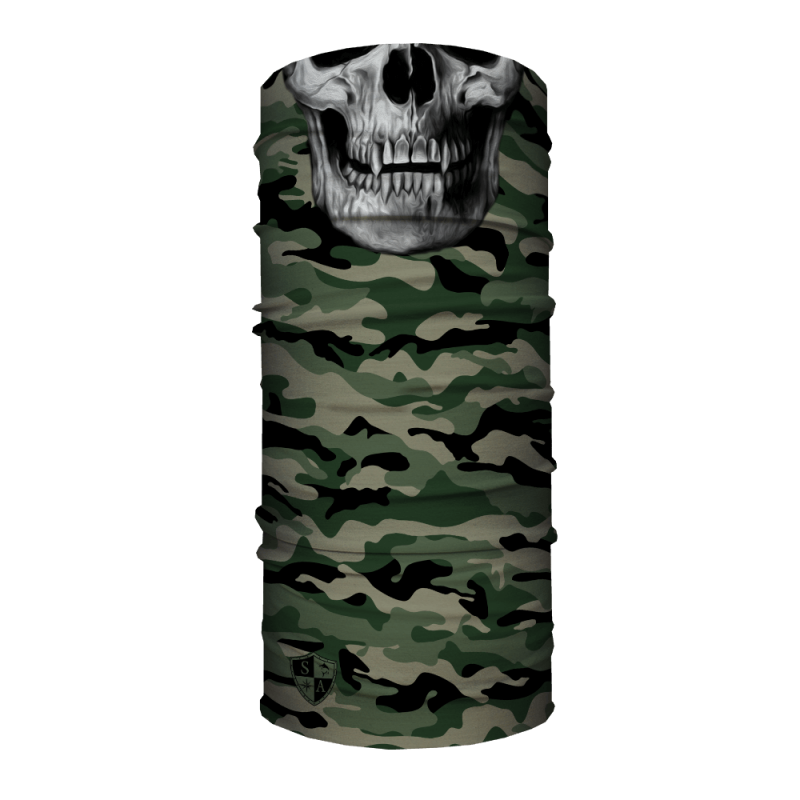 Face Shield Green Military Camo Skull