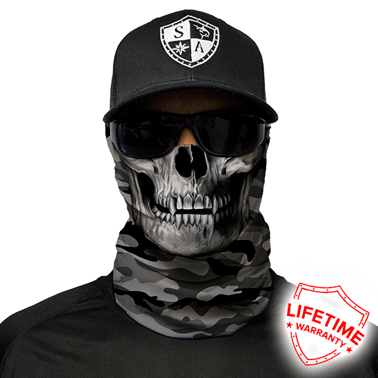 Face Shield Grey Military Camo Skull