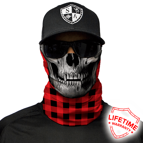 Face Shield Lumberjack Red Skull