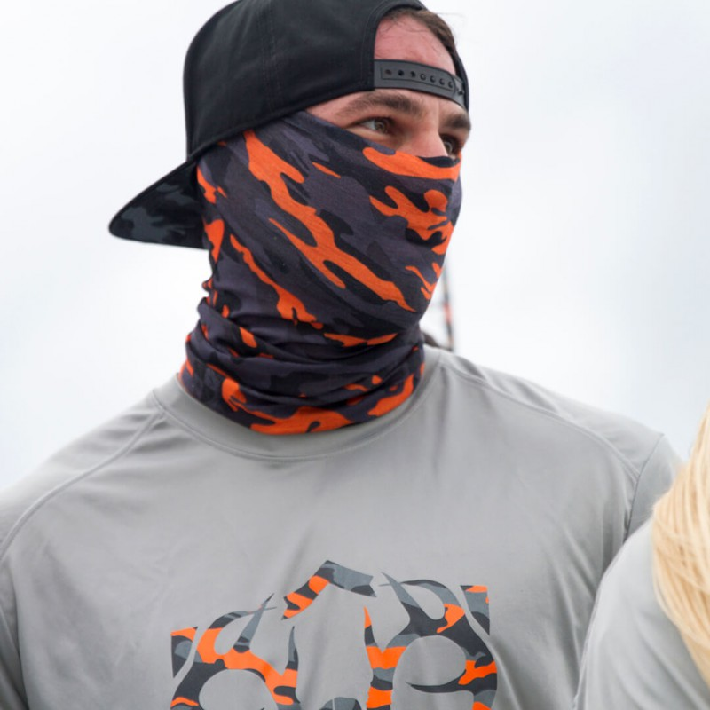 Faceshield Orange & Grey Military Camo