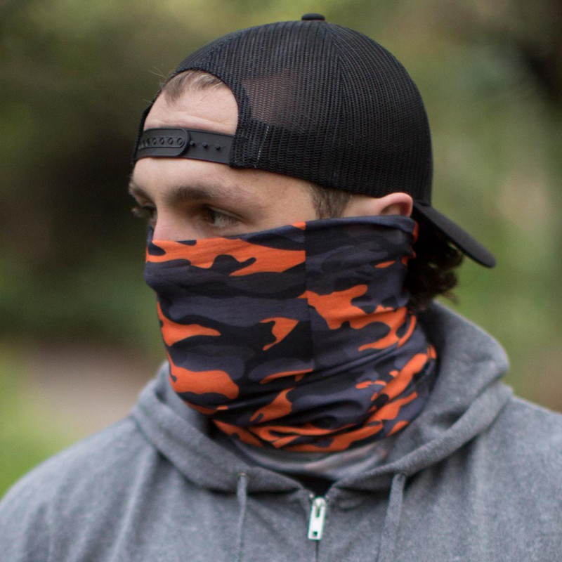 Face Shield Orange & Grey Military Camo