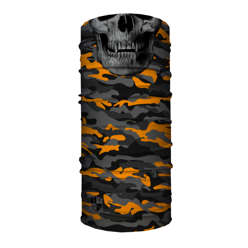 Face Shield Orange & Grey Military Camo Skull
