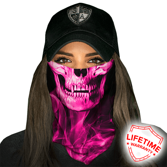 Face Shield Skull Tech Pink Crow