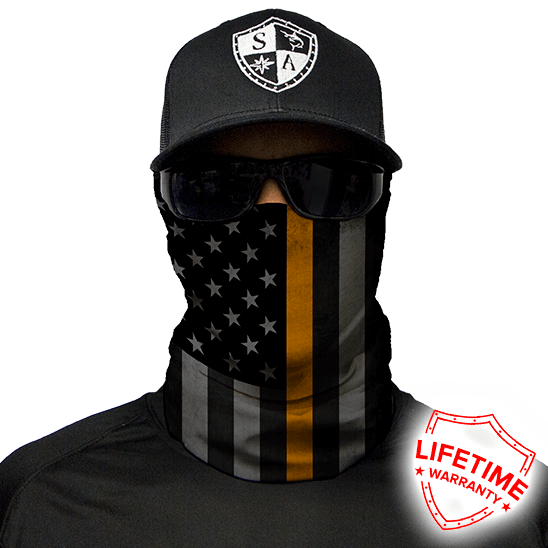 Face Shield Thin Gold Line Flag