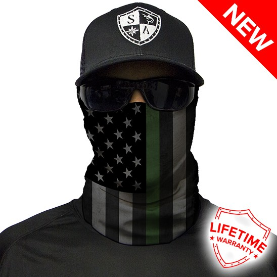 Face Shield Thin Green Line Flag