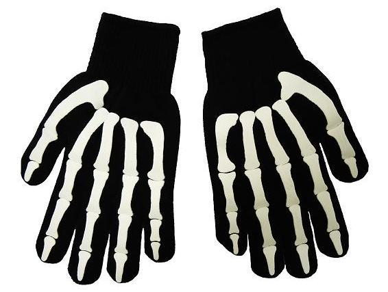 Black gloves with grey skeleton print