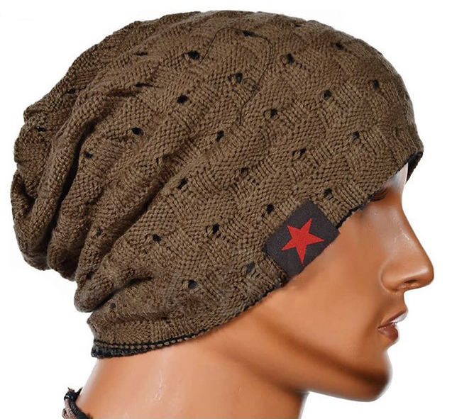 Khaki beanie with star