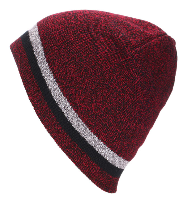 Red beanie with stripe