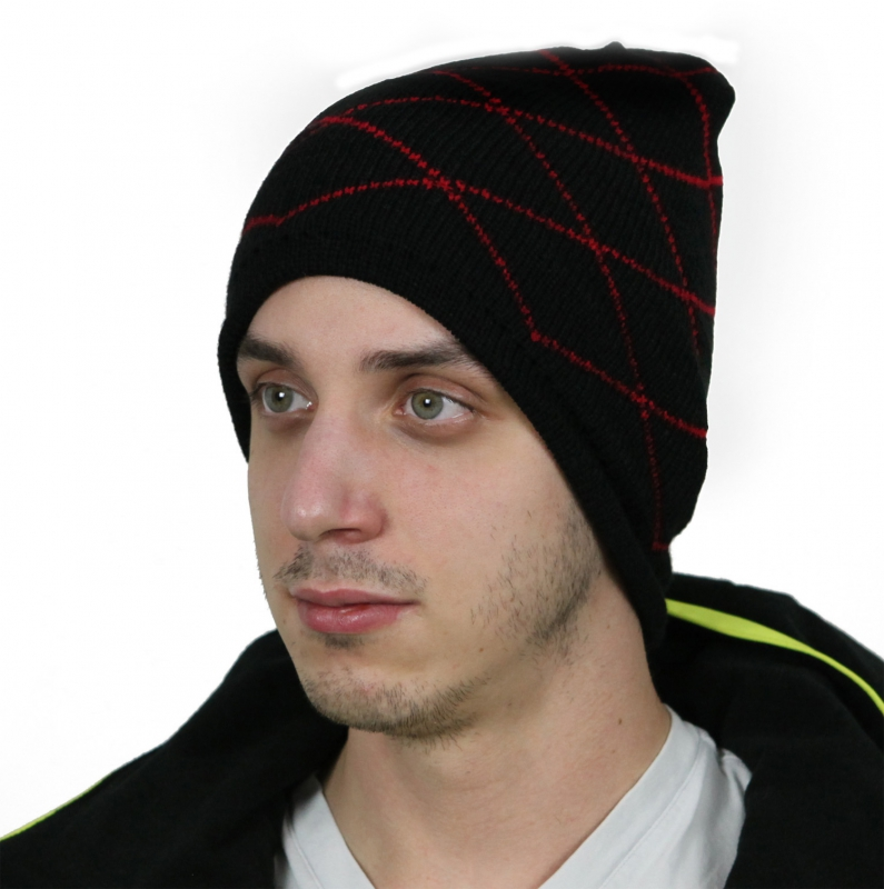 Black with red beanie